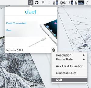 OS X側操作画面。若干バグって表示されているが、メニューはいたってシンプル。